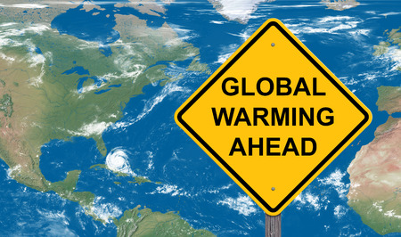 Global Warming Ahead Caution Sign With Map Background
