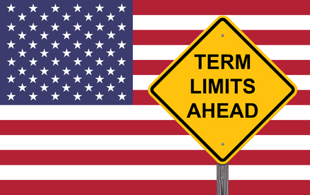 Term Limits Ahead Caution Sign Flag Background