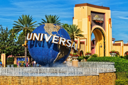 Orlando Fl., USA - January 9, 2019: Universal Studios globe located at the entrance to the theme park. Universal Studios Orlando is a theme park resort in Orlando, Florida, USA