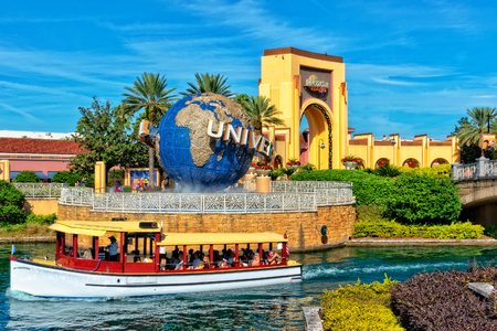 ORLANDO FL, USA - JANUARY 9, 2019: Universal Studios globe located at the entrance to the theme park. Universal Studios Orlando is a theme park resort in Orlando, Florida, USA Redakční