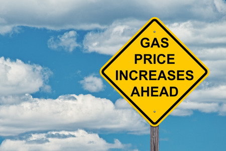 Gas Price Increases Ahead Caution Sign Blue Sky Background