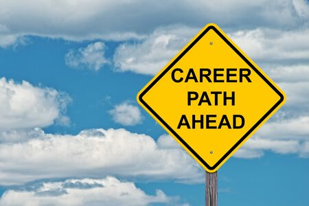 Career Path Ahead Caution Sign - Blue Sky Background
