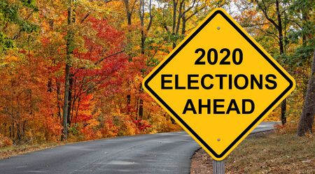 2020 Elections Ahead Caution Sign Autumn Background Foto de archivo