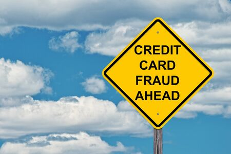Credit Card Fraud Ahead Caution Sign Blue Sky Background