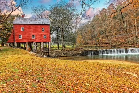 Grist Mill On The Alvin C. York Farm State Park In Pall Mall Tennessee. Stock fotó