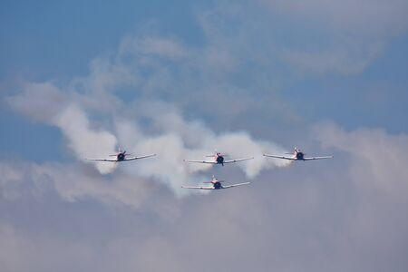 Harvard Aerobatic Aircraft Formation On Approach, Pretoria, South Africa