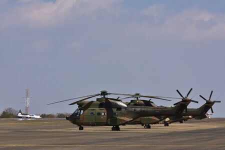 Military Atlas Oryx Helicopters Parked On Airfield, Pretoria, South Africa 免版税图像