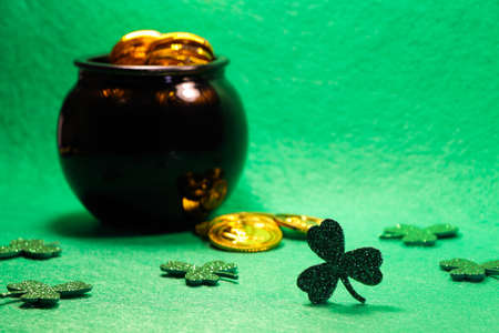 Shamrock Clovers With Coin Filled Pot Of Gold