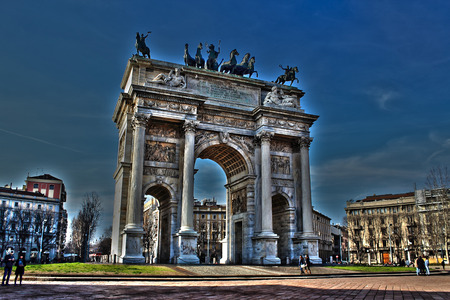 during: arc of peace during sempione milan Stock Photo