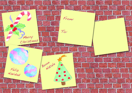 Christmas greeting with kids drawing