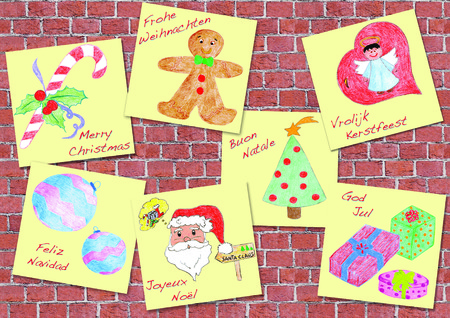 Christmas greetings in the languages of the world, drawing children