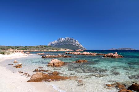 Clear water and white sand of Tavolara island Sardinia