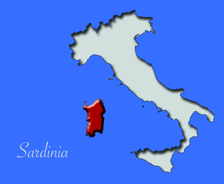 Map of Sardinia in red relief in Italy immersed in the blue sea