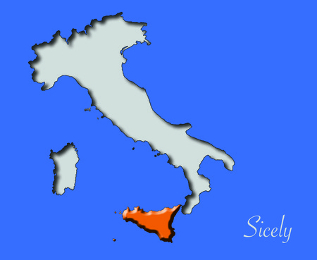 Sicily map in red relief in Italy immersed in the blue sea