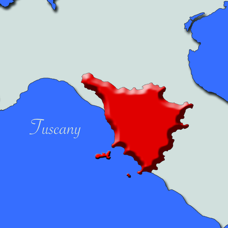 Tuscany map in red relief in Italy immersed in the blue sea Stock Photo