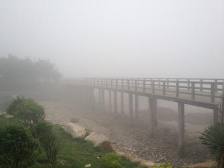 bridge and fog Stock Photo