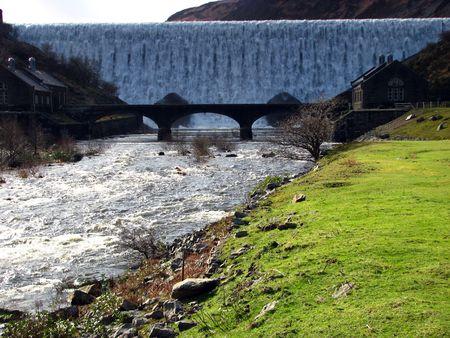 elan: water cascading down Cabon Coch Dam in the Elan Valley Wales Stock Photo