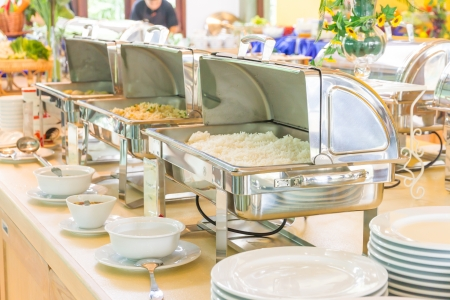 party tray: Many buffet heated trays ready for service