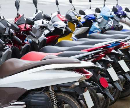 The motorbike for rent. Stock Photo