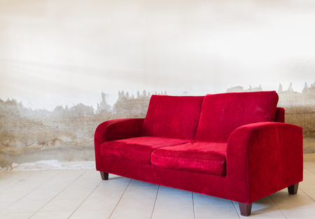 red sofa: Red velvet sofa for decorate and design project.