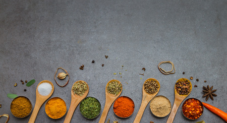 indian food: Spices mix selection background for decorate design project