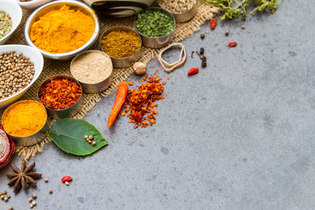 curry bowl: Spices and herbs.Food and cuisine ingredients for decorate design project.