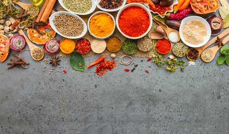dry powder: Spices and herbs.Food and cuisine ingredients for decorate design project.