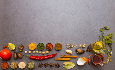 salt and pepper: Many spices and herbs selection background for decorate design project. Stock Photo