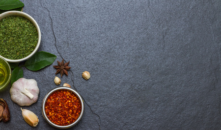 Mixed spices and herbs on background for decorate design. Imagens - 41557004