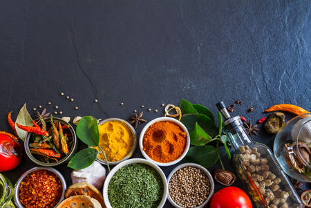 natural health: Mixed spices and herbs on background for decorate design.