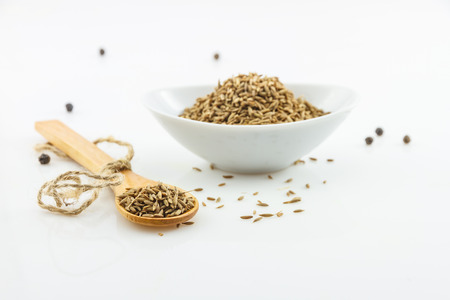 saunf: The parsley seed spices on white background for decorate project. Stock Photo