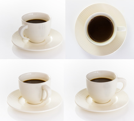 sleepiness: Coffee cup and saucer on white background for decorate project.
