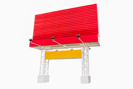 large build: Billboard red color on white isolate background for design or decorate project Stock Photo