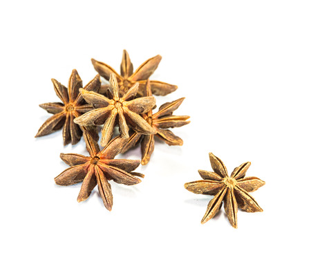 badiane: The star anise on white background for design or decorate project.