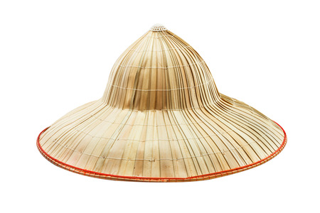 hat project: The bamboo hat on white isolate background for decorate project. Stock Photo