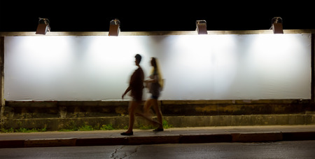 Big Empty Billboard at night in city for decorate project. Zdjęcie Seryjne
