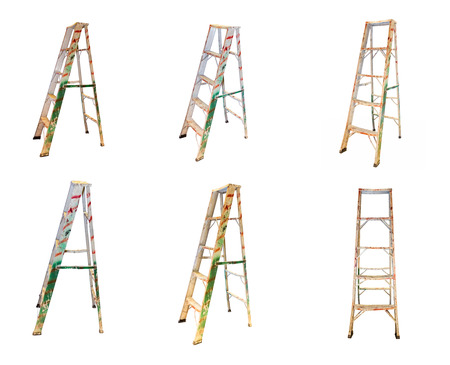 Aluminum step ladder on white isolate background for decorate project.