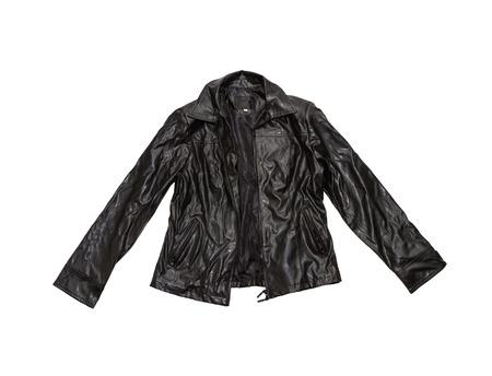 chaqueta de cuero: Chaqueta de cuero de la vendimia en el aislante blanco