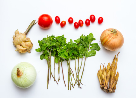 healthy foods: Fresh vegetables and other healthy foods on white background for decorate design. Stock Photo