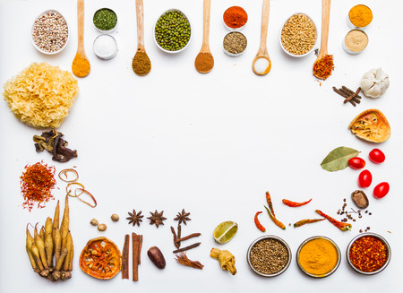 Many spices and herb for health background for decorate design.