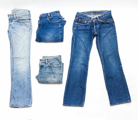 stylish men: Blue jeans on white background for design. Stock Photo