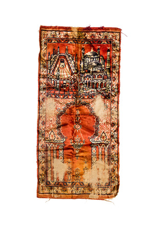 prayer rug: Prayer mat for muslim people on white isolate with clipping path for decorate project. Stock Photo