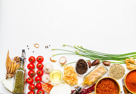 Spices and vegetable for healthy and cooking on background