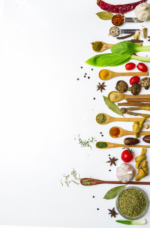 Food and spices herb for cooking background and design.