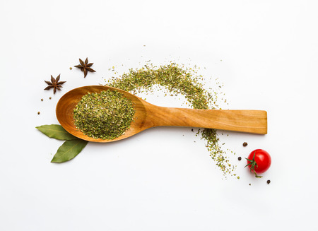 wooden spoon: Food and spices herb for cooking background and design.