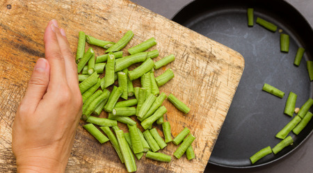 cow pea: Green cow pea for cooking and health on the pan background.
