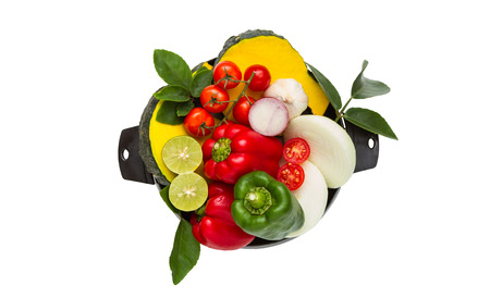 healthy path: Vegetables for healthy on white isolate background with clipping path.