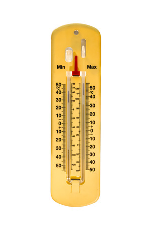 hotter: Wooden thermometer isolated on white background.