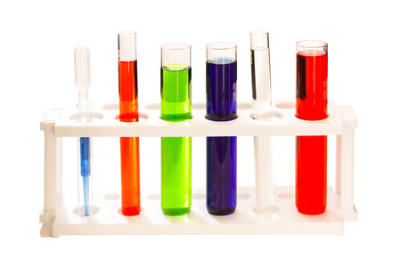 flasks: Group of laboratory flasks empty on white isolate background