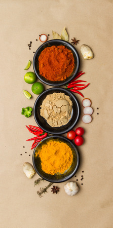 Spices for herb on brown paper background. Stock Photo